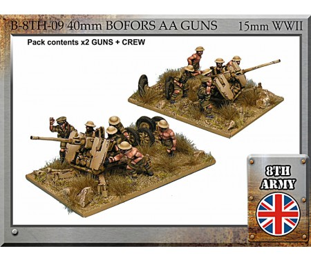 B-8TH-09 8th Army British 40mm Bofors AA gun and crew - 15mm WWII