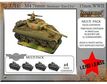 L-14 Soviet M4 76mm 'Emcha' (M4A2 76mm Sherman) x 4